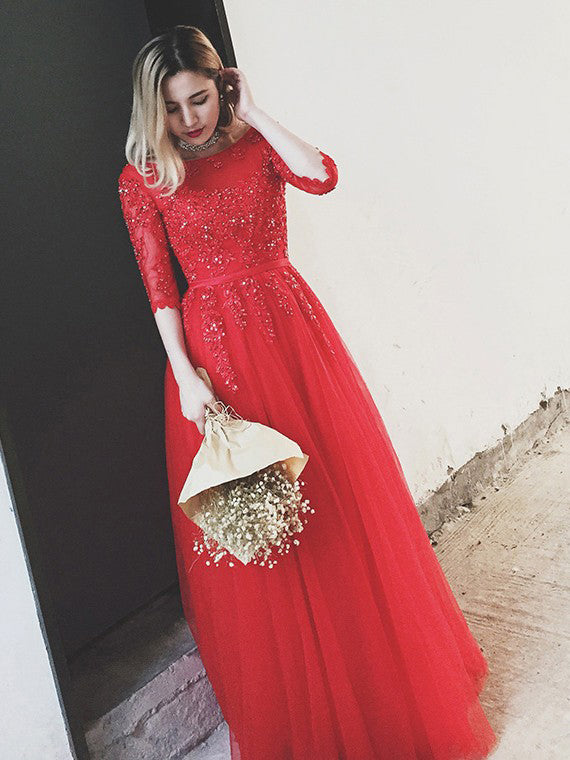 Red Prom Dresses Bateau Floor-length Appliques Lace-up Long Prom ...