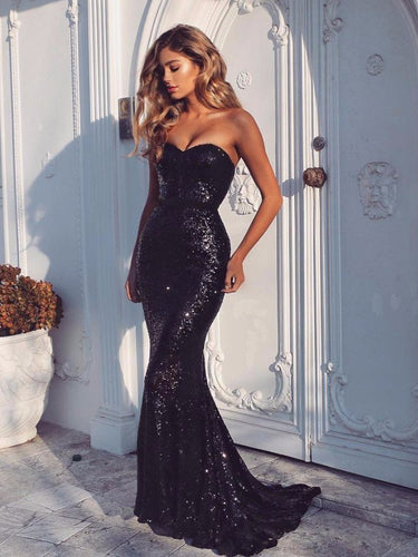 Black Prom Dresses Mermaid Sweetheart Brush Train Sequins Long Sexy Prom Dress JKL619