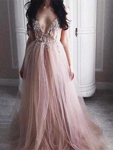 Chic Prom Dresses Spaghetti Straps A Line Floor-length Long Tulle Sexy Prom Dress JKL621