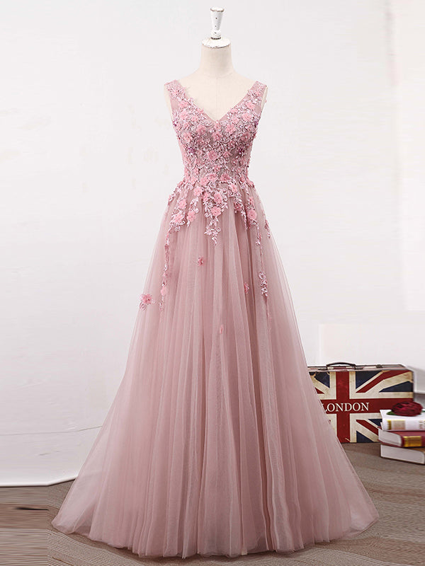 Long Prom Dresses A-Line Sweep Train V-neck Lace-up Tulle Beautiful ...
