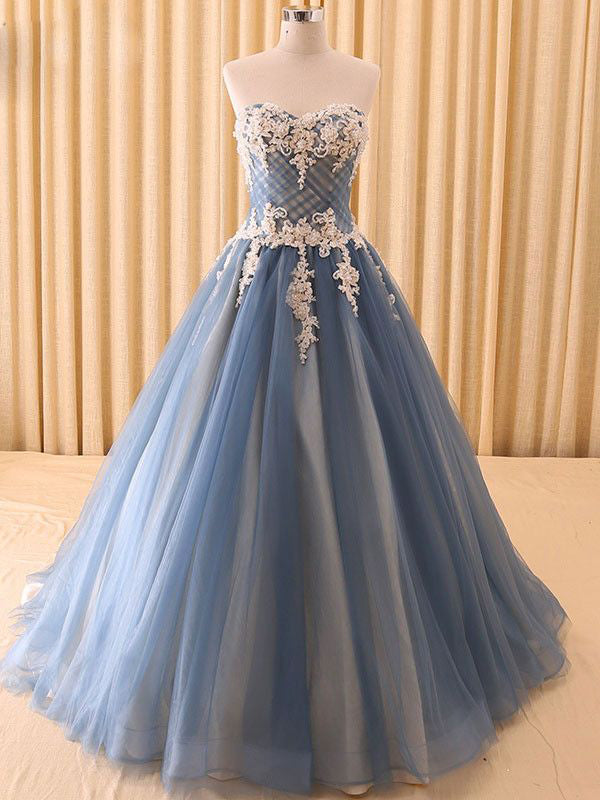 Ball Gown Prom Dresses Sweetheart Floor-length Lace Tulle Beautiful ...
