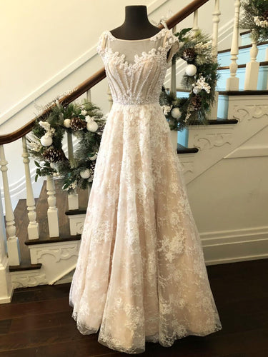 Lace Prom Dresses A-line Scoop Floor-length Beading Ivory Tulle Prom Dress JKL625