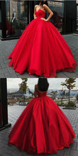 Ball Gown Prom Dresses Floor-length Sweetheart Lace-up Red Sexy Long Big Prom Dress JKL627