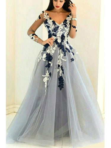 Sexy Prom Dresses V-neck Aline Floor Length Grey Beautiful Long Prom Dress JKL629