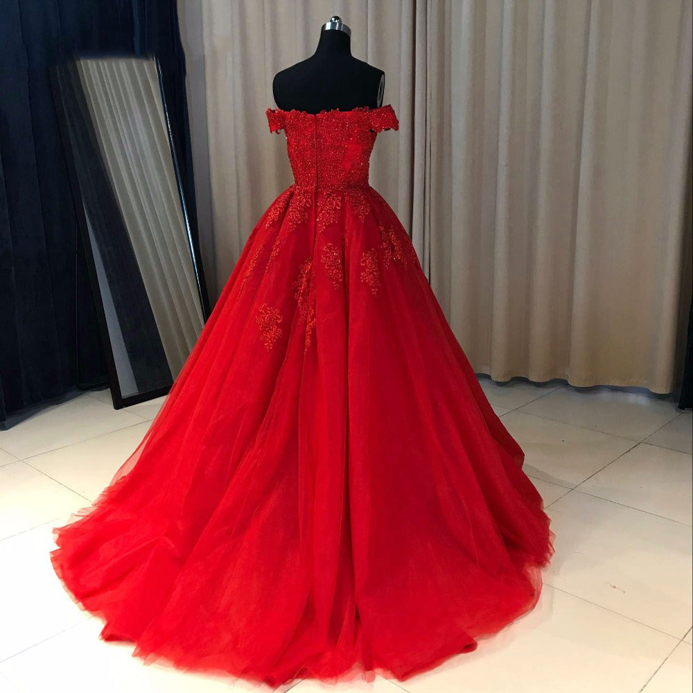 Ball Cown Prom Dresses Off The Shoulder Sweep Train Long