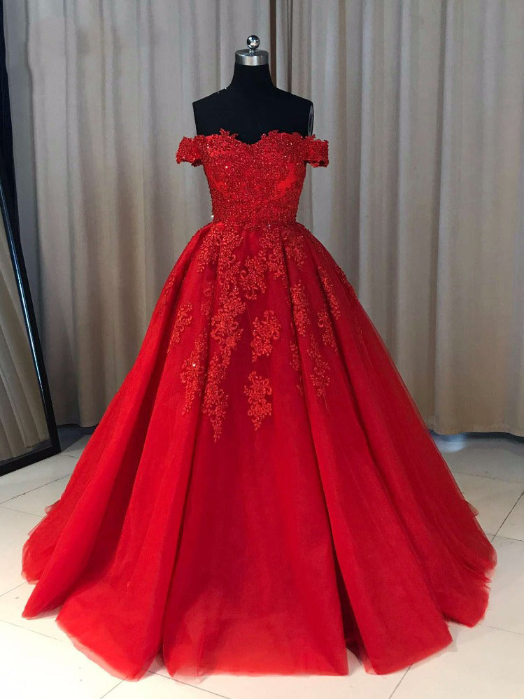 Ball Cown Prom Dresses Off-the-shoulder Sweep Train Long Red Prom Dress JKL632