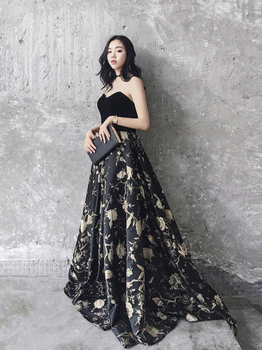 Chic Prom Dresses Black Sweetheart A Line Floral Print Sweep Train Long Prom Dress JKL633