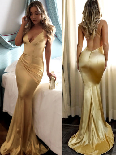 Mermaid Prom Dresses Short Train Spaghetti Straps Long Sexy Gold Prom Dress JKL636