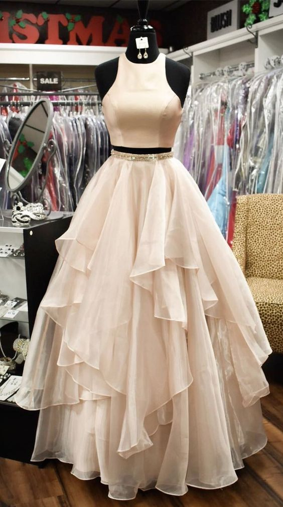 8a2fb551666 Two Piece Prom Dresses A-line Scoop Floor-length Long Sparkly Chic Prom  Dress ...