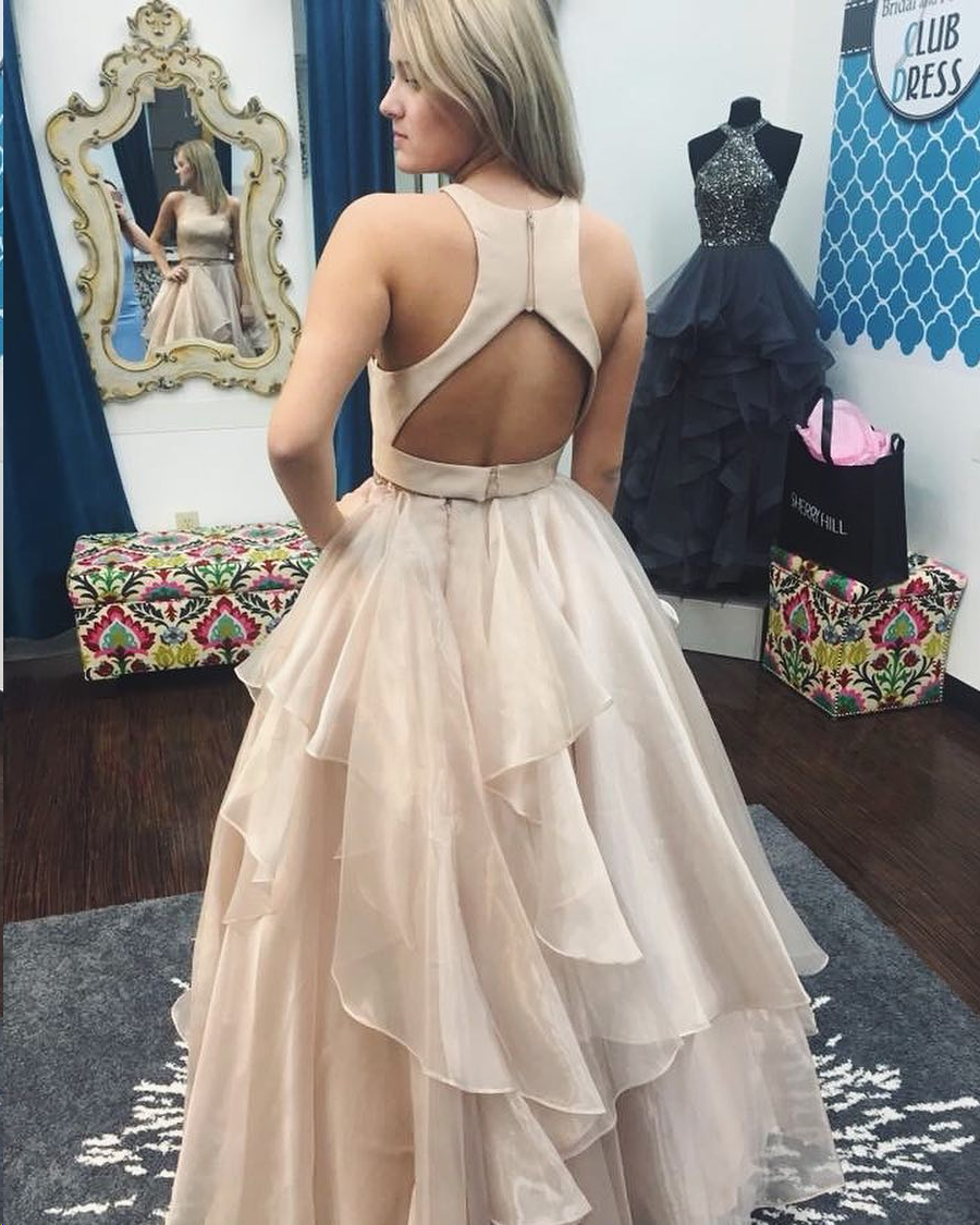 6c209d292f6 ... Two Piece Prom Dresses A-line Scoop Floor-length Long Sparkly Chic Prom  Dress ...