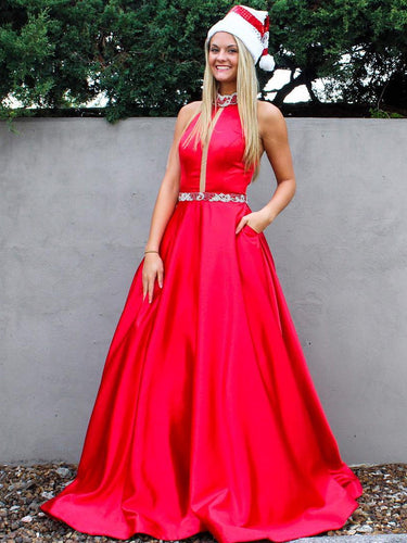 Long Prom Dresses High Neck A-line Floor-length Rhinestone Sexy Red Prom Dress JKL638