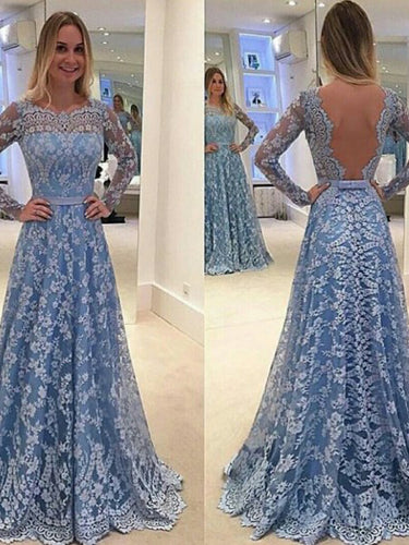 Long Prom Dresses Scoop A Line Floor-length Long Sleeve Lace Prom Dress Sexy Evening Dress JKL639