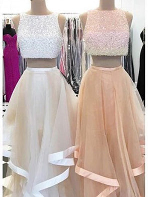 Two Piece Prom Dresses Bateau Aline Floor Length Beautiful Long Prom Dress JKL640