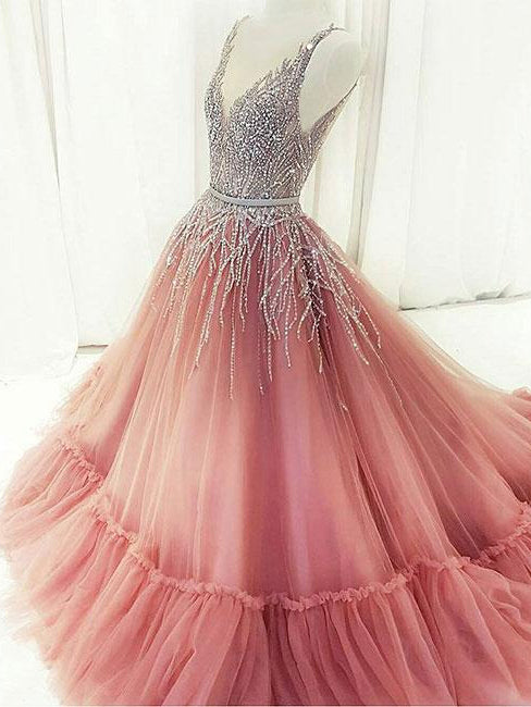 Ball Gown Prom Dresses Straps Sweep Train Rhinestone Sparkly Prom