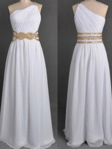 Cheap Prom Dresses One Shoulder Floor-length Long Sexy Simple White Prom Dress JKL642