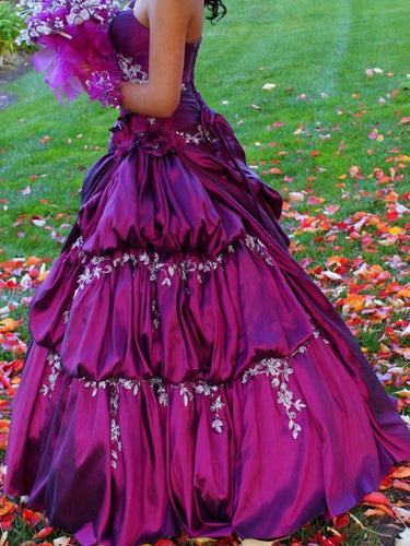 Ball Gown Prom Dresses Floor-length Taffeta Fuchsia Beautiful Long Prom Dress JKL645
