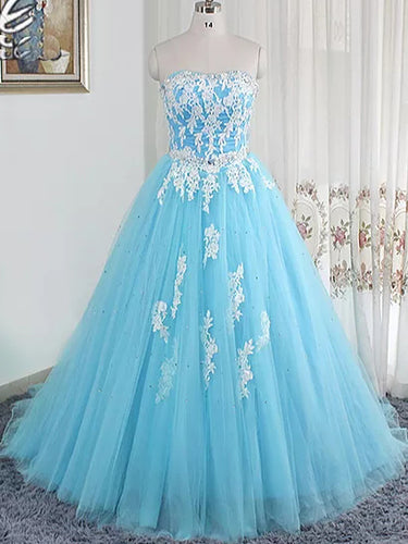 Ball Gown Prom Dresses Sweetheart Short Train Light Sky Blue Long Prom Dress Evening Dress JKL647