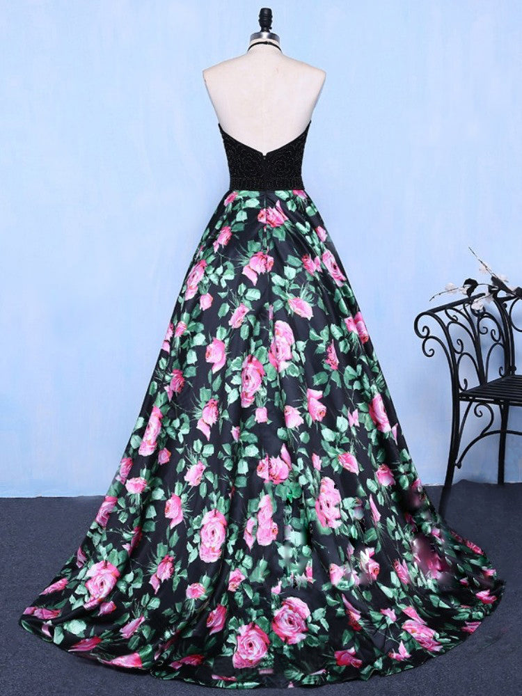 Black Prom Dresses Halter Short Train Floral Print Sexy
