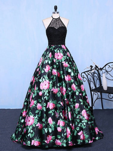 Black Prom Dresses Halter Short Train Floral Print Sexy Prom Dress Evening Dress JKL649