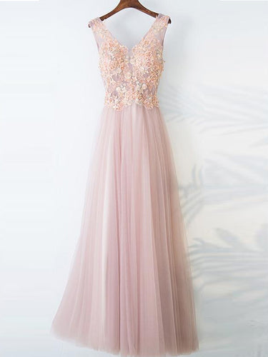 Lace Prom Dresses V-neck Aline Floor-length Pearl Pink Long Beautiful Prom Dress JKL651