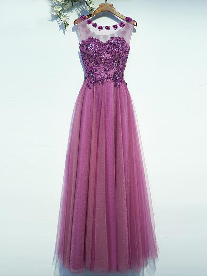 Chic Prom Dresses Scoop A Line Floor-length Lace-up Sequins Long ...