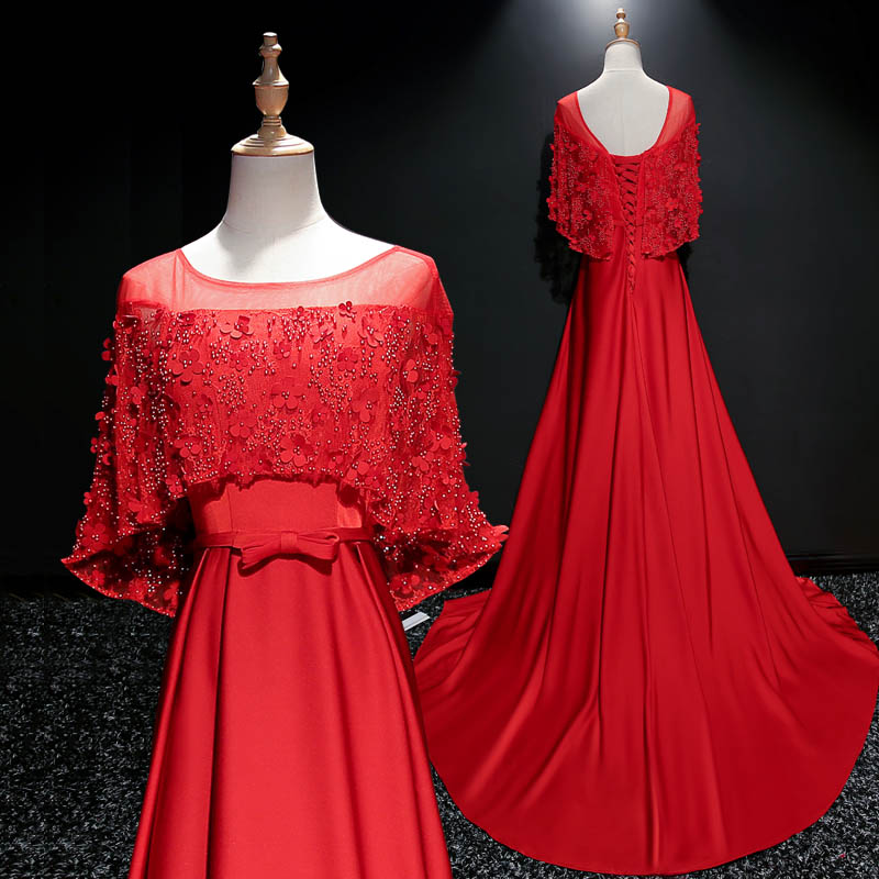 Red Prom Dresses A-line Scoop Sweep Train Satin Lace Beautiful Long ...