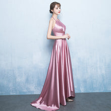 Long High Low Prom Dresses Halter A-line Short Train Simple Sexy Cheap Prom Dress JKL655