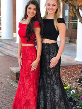 Two Piece Prom Dresses Trumpet Mermaid Off-the-shoulder Lace Long Black Prom Dress JKL661|Annapromdress