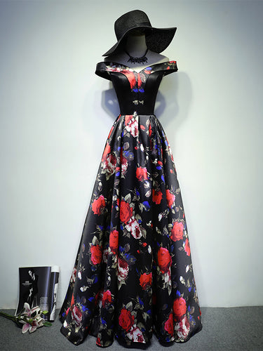 Black Prom Dresses A Line Off-the-shoulder Floral Rose Print Prom Dress Long Evening Dress JKL663