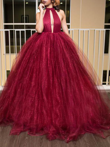 Sexy Prom Dresses Ball Gown Halter Open Back Burgundy Long Prom Dress Chic Evening Dress JKL665