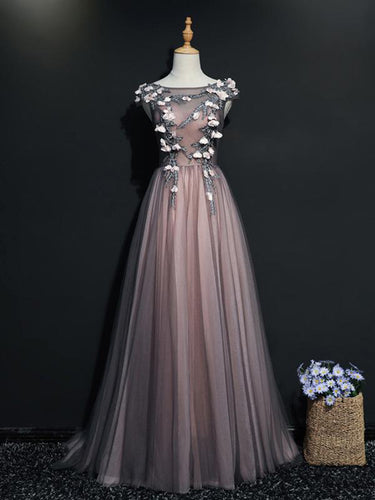 Beautiful Prom Dresses Aline Bateau Appliques Lace-up Long Pink Prom Dress JKL668