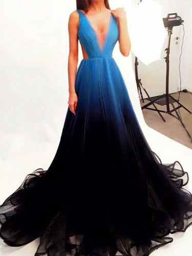 Luxury Prom Dresses A-line Straps Sweep Train Ombre Black Long Prom Dress JKL670