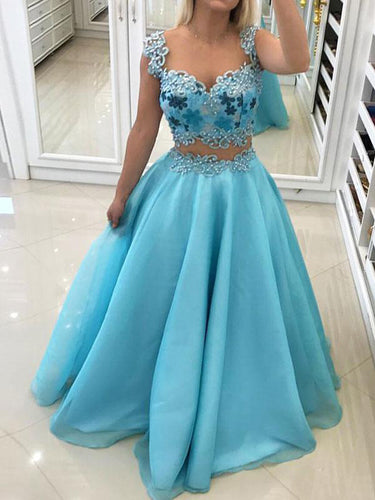 Sexy Prom Dresses Ball Gown Scoop Appliques Floor-length Long Prom Dress Evening Dress JKL673