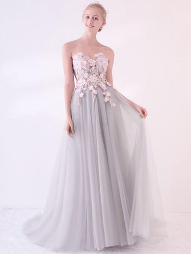 Beautiful Prom Dresses A-line Sweetheart Sweep Train Grey Sexy Long Prom Dress JKL674
