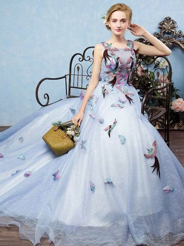 Beautiful Prom Dresses Ball Gown Scoop Sweep Train Lace Butterfly Sexy Long Prom Dress JKL677