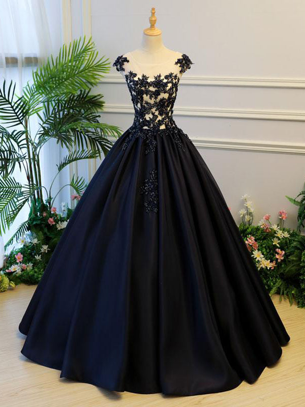 Black Ball Gown Illusion Neck Cap Sleeves Prom Dresses