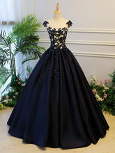 Ball Gown Prom Dresses Scoop Lace-up Dark Navy Floor-length Satin Long Prom Dress JKL679