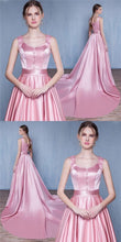 Sexy Prom Dresses A Line Straps Sweep Train Lace-up Pink Prom Dress Long Evening Dress JKL680