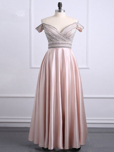 Chic Prom Dresses Off-the-shoulder Floor-length Beading Long Prom Dress Sexy Evening Dress JKL690