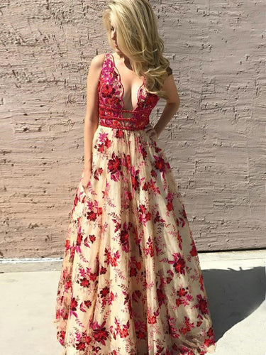 Lace Prom Dresses V-neck A Line Floor-length Red Floral Sexy Long Prom Dress JKL692