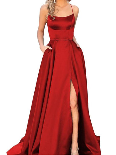 Slit Prom Dresses A Line Sweep Train Sexy Simple Long Burgundy Cheap Prom Dress JKL694|Annapromdress