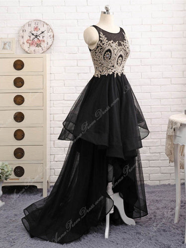 Black Prom Dresses Scoop A line Appliques Floor-length High Low Long Prom Dress JKL697