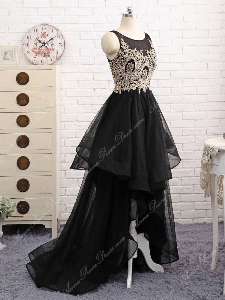 Black Prom Dresses Scoop A line Appliques Floor-length High Low Long ...