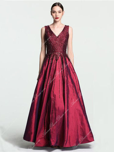 Sexy Prom Dresses V-neck Floor-length Burgundy Beading Prom Dress Sexy Evening Dress JKL699