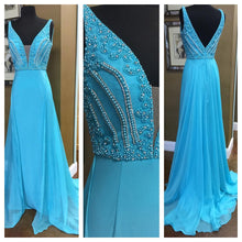 Sexy Prom Dresses Straps Short Train Beading Long Prom Dress Sexy Evening Dress JKL700