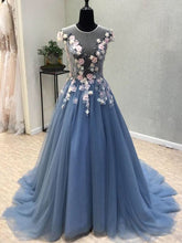 Beautiful Prom Dresses Scoop Aline Sweep Train Lace Hand-Made Flower Chic Prom Dress JKL703