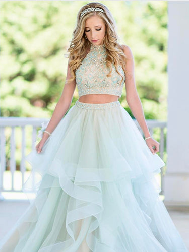 Two Piece Prom Dresses High Neck A Line Rhinestone Sexy Long Tulle Prom Dress JKL704
