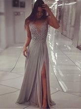 Sexy Prom Dresses Scoop Floor-length A-line Gray Chiffon Slit Long Prom Dress JKL707