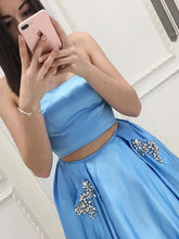 Two Piece Prom Dresses A-line Strapless Floor-length Rhinestone Long Sexy Prom Dress JKL710