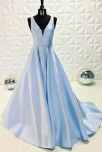 Cheap Prom Dresses Straps A-line Sweep Train Satin Simple Long Sexy Prom Dress JKL711